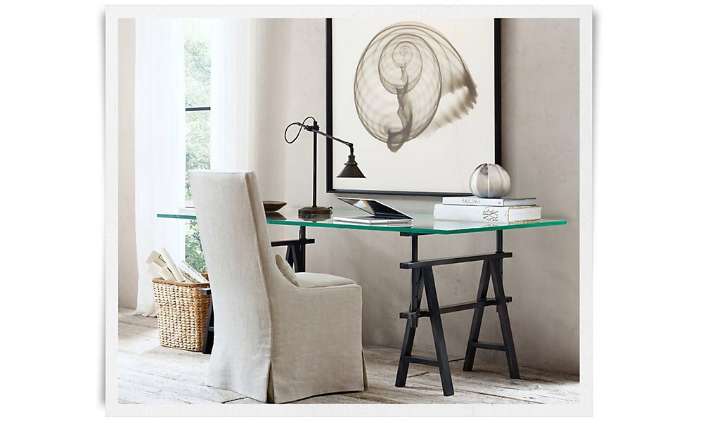 rh glass table top office desk restoration hardware the room is