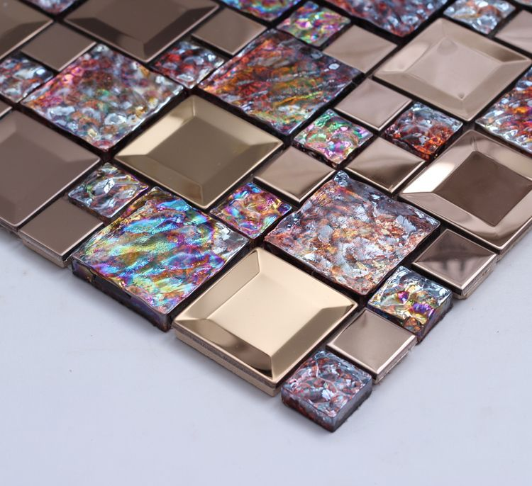 Colorful Shining Glass Mixed Stainless Steel Tiles In Mosaic Mesh Backing  Squared For Kitchen Backsplash Bathroom