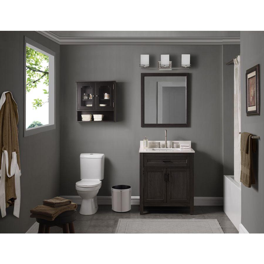 Scott Living Durham 30 In Gray Single Sink Bathroom Vanity With White Engineered Stone Top Mirror Included Lowes Com Single Sink Bathroom Vanity Bathroom Sink Vanity Engineered Stone