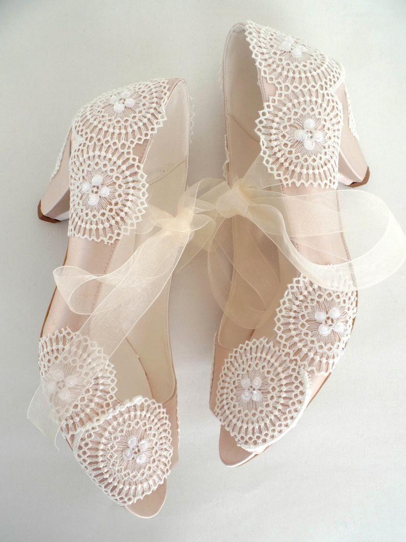 Low Heel Boho Wedding Shoes Champagne Satin Ivory Lace Wedding Shoes Lace Boho Wedding Shoes Wedding Shoes