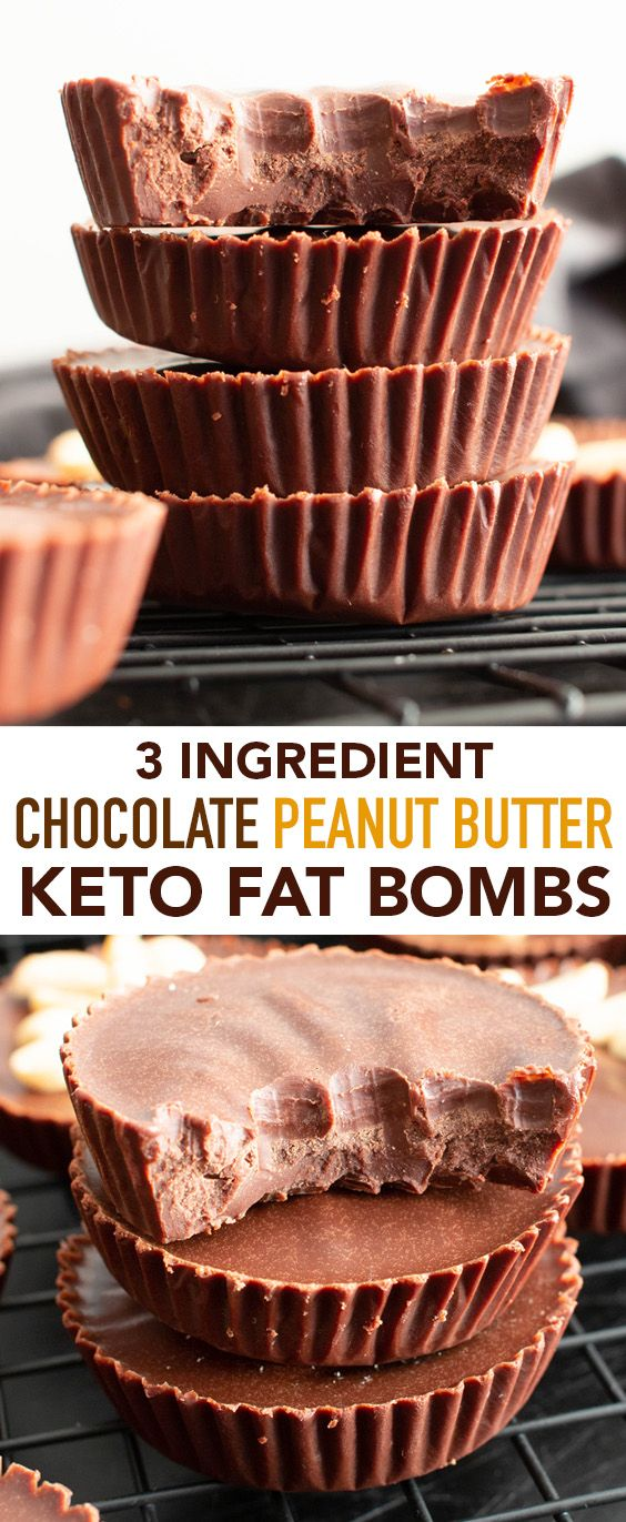 Keto Chocolate Peanut Butter Fat Bombs Just 3 Ingredients