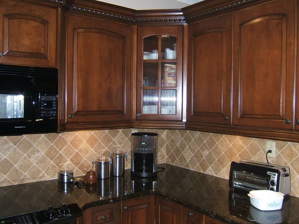 Kitchen Backsplash Ideas Dark Cherry Cabinets light colored oak cabinets with granite countertop | here are my