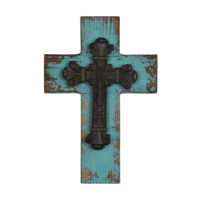 Distressed Blue Wooden Cross Plaque | Kirklands