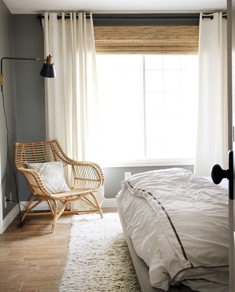 Bamboo Roller Blinds And White Curtains
