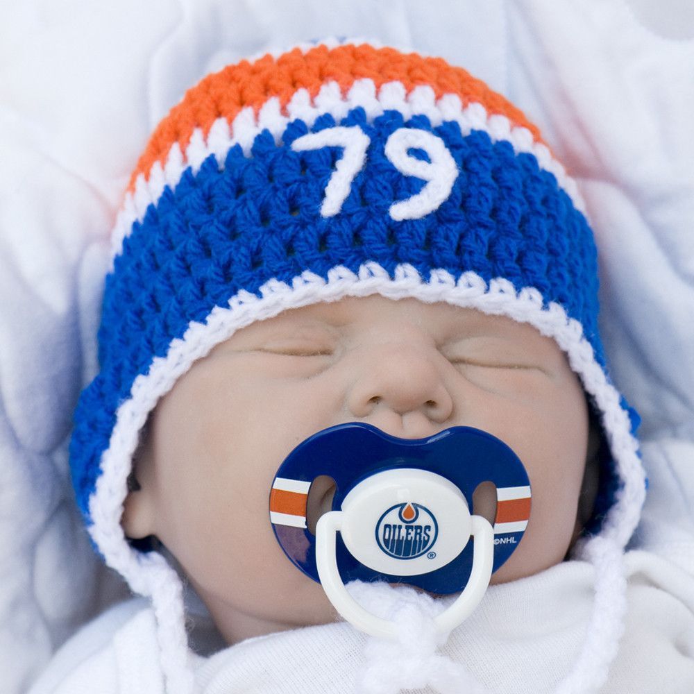 6020d0df8 Baby Boy Hockey Number Hat   Edmonton Oilers NHL Pacifier ...