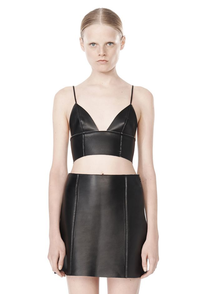 fe6026ef9 RAW EDGE TRIANGLE LEATHER BRALETTE - Tops Women - Alexander Wang Online  Store