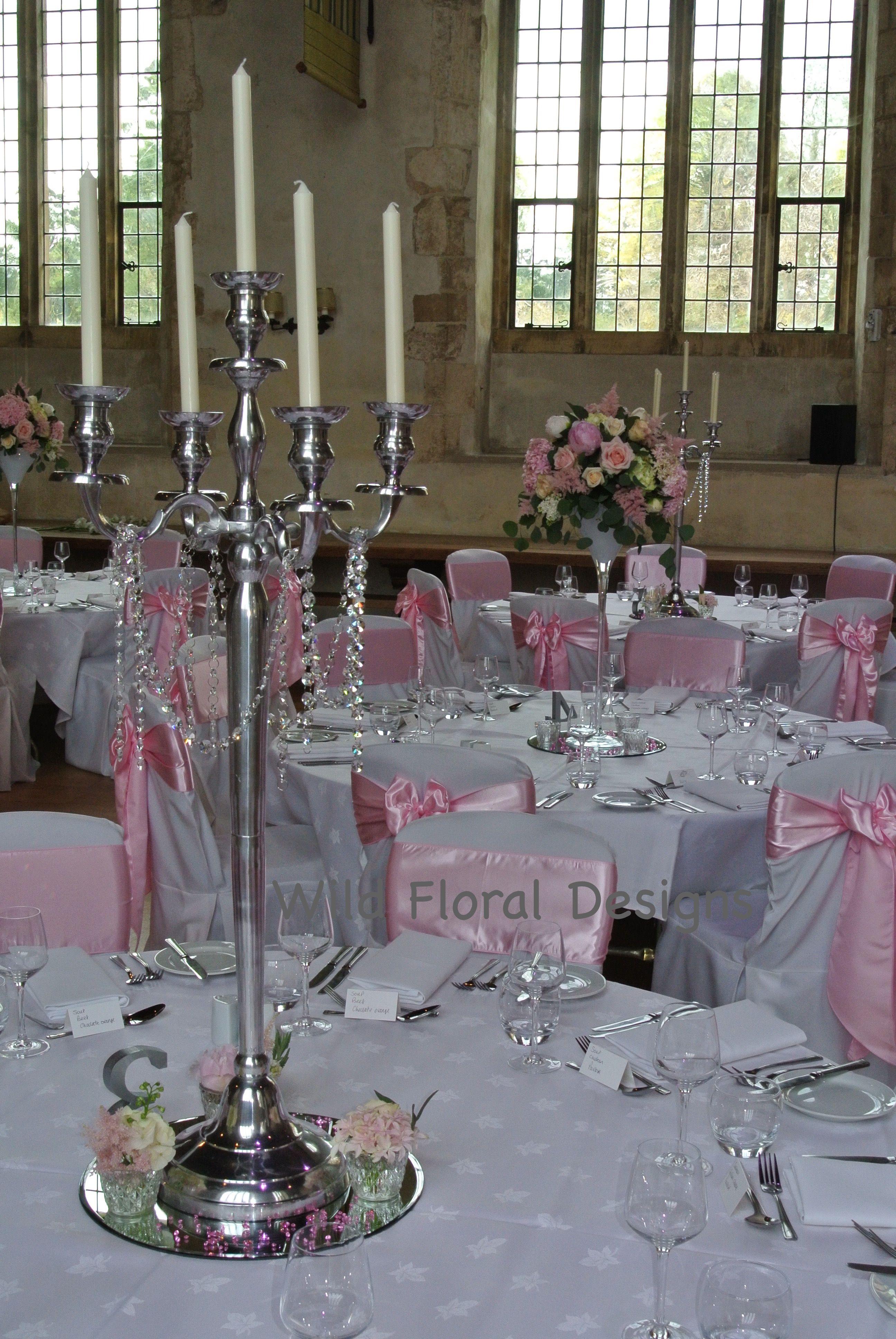 Silver Candelabra Table Centrepieces Dartington Hall Totnes Wedding