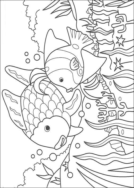 Free Coloring Page Rainbow Fish