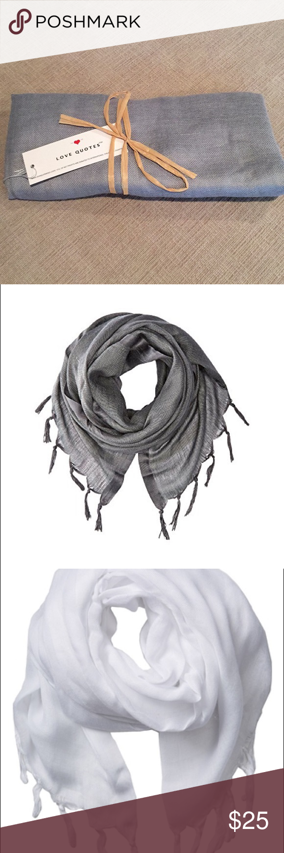 Love Quotes Scarf Love Quotes Scarf In Grey New With Tags  Scarf Wrap Tassels And