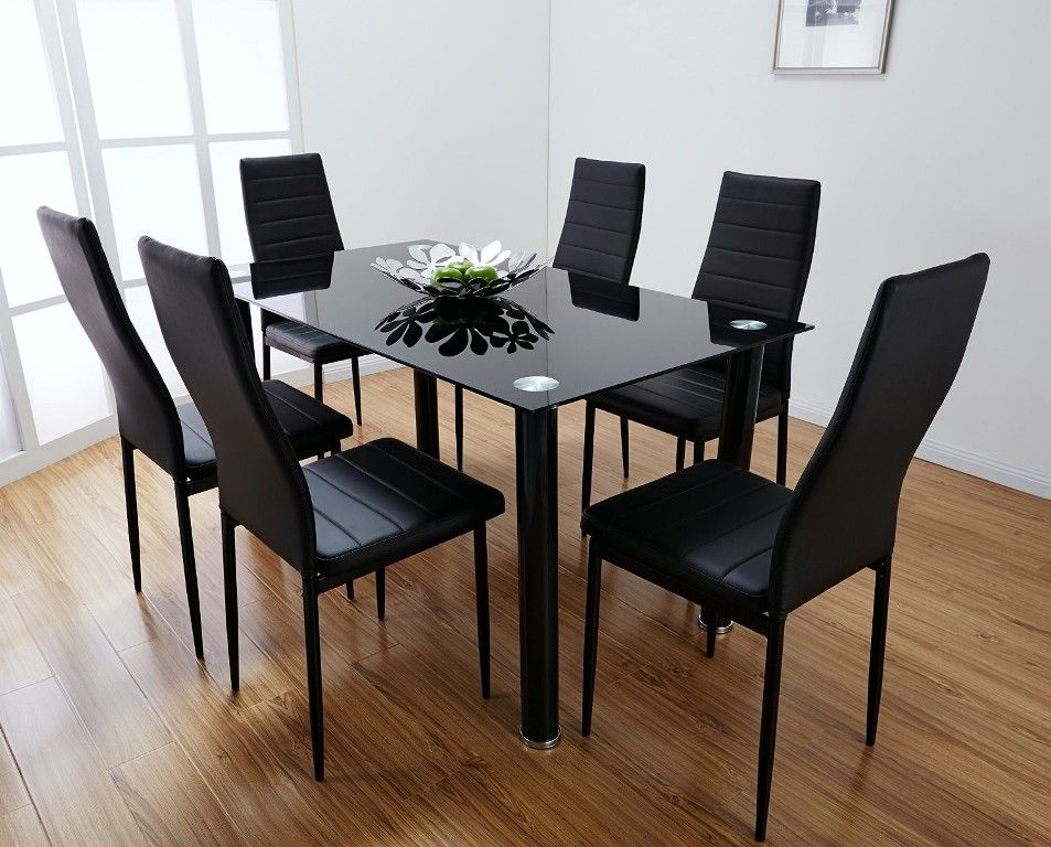 Enticing Glass Dining Room Table Sets 6 Chairs get House EnjoyableKitchen  Contemporary Glass Kitchen Table With Red Chairs Also  . Dining Table And 6 Red Leather Chairs. Home Design Ideas