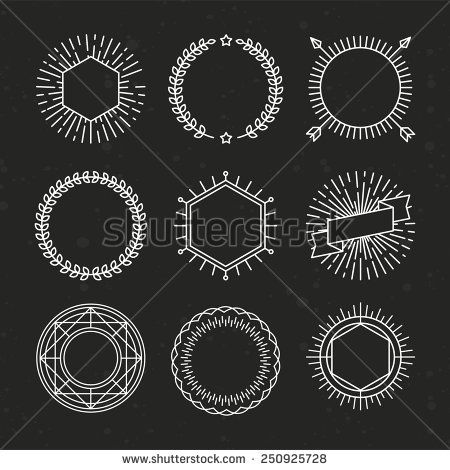 Vector set of outline emblems and badges abstract linear hipster vector set of outline emblems and badges abstract linear hipster logo templates with arrows maxwellsz