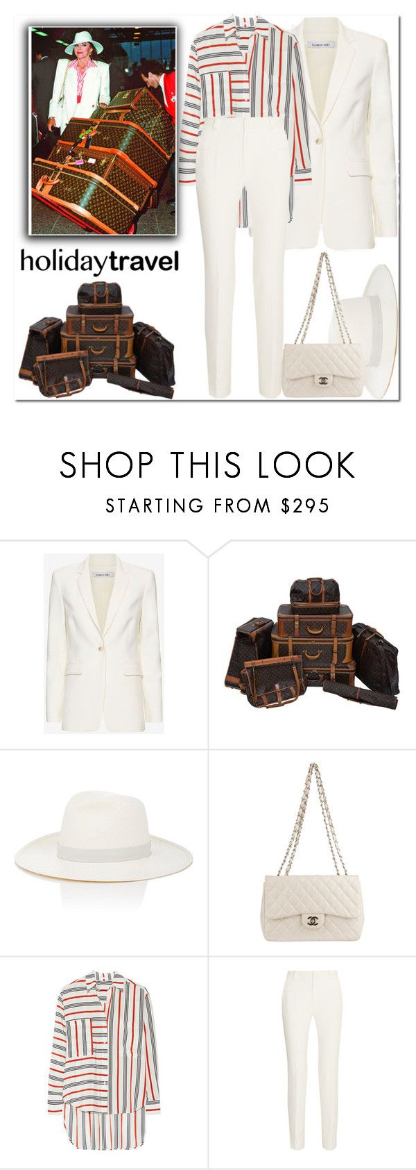 """When you are Dynasty - Joan Collins coming through"" by mood-chic ❤ liked on Polyvore featuring Elizabeth and James, Louis Vuitton, Janessa Leone, Chanel, Tome, Roland Mouret and travelinstyle"