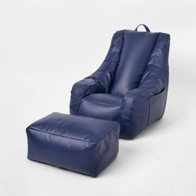 Sensory-Friendly Water-Resistant Supportive Chair with Pockets & Ottoman Navy - Pillowfort™
