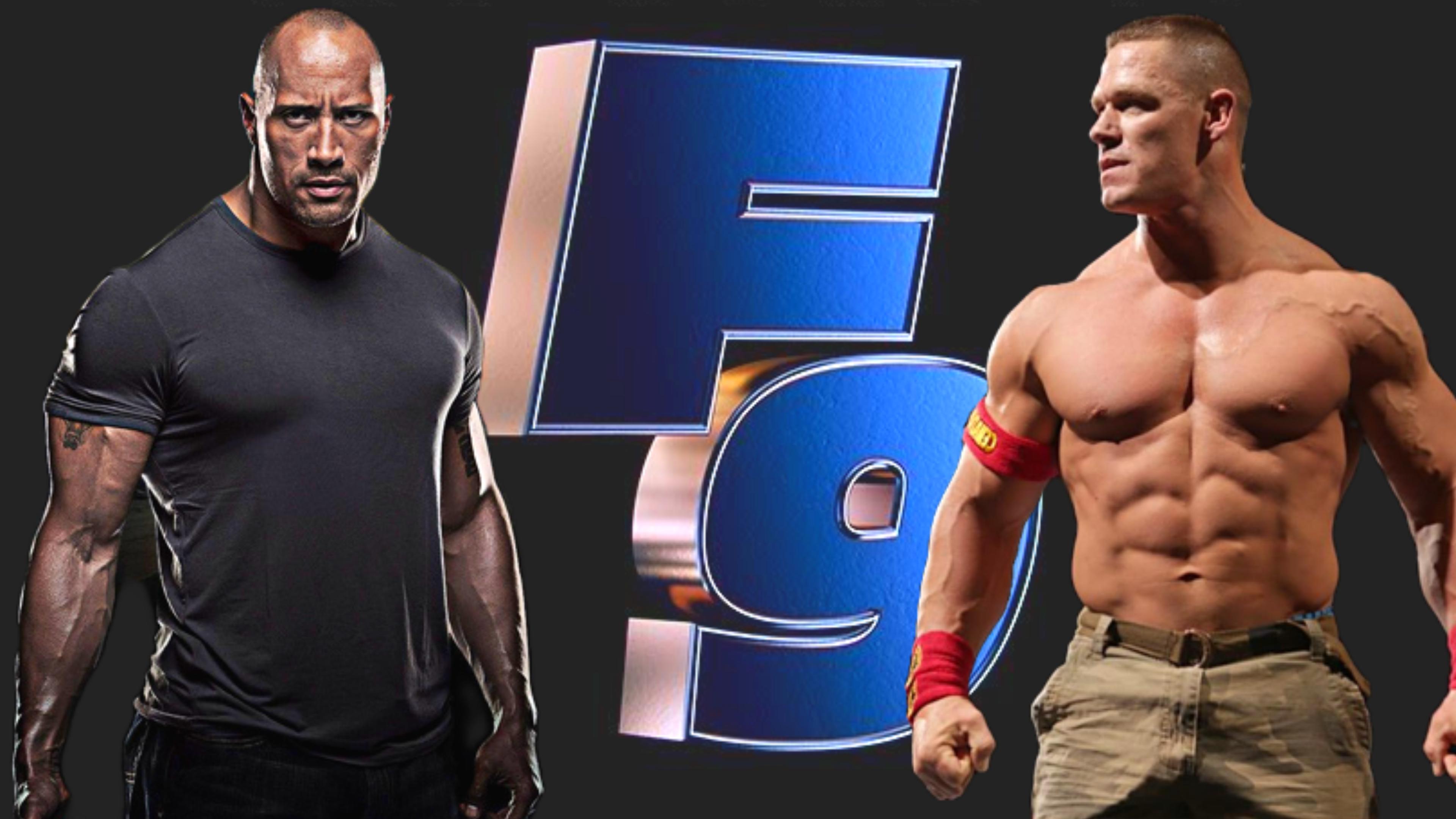 Fast Furious 9 Live Trailer Launch Event John Cena Dwayne Johnson Dwayne Johnson John Cena Dwanye Johnson