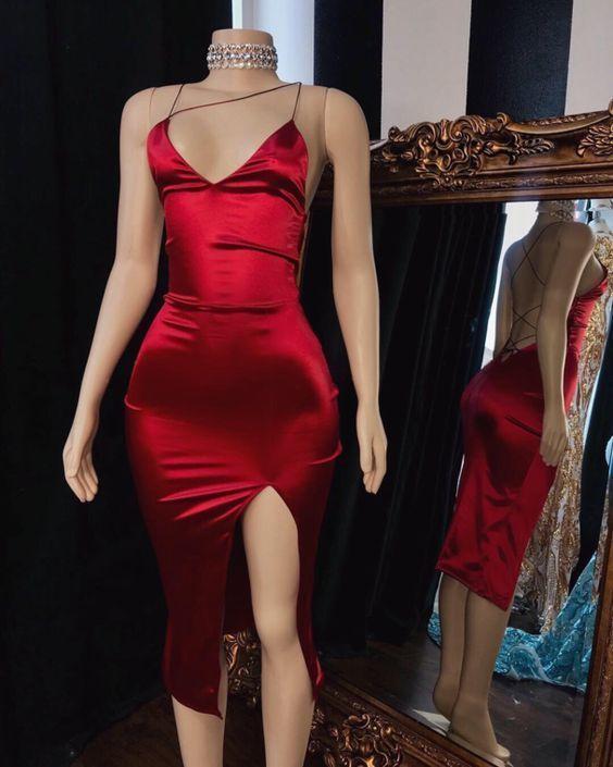 Backless Burgundy Neckline Prom Dresses ML4130 In 2020