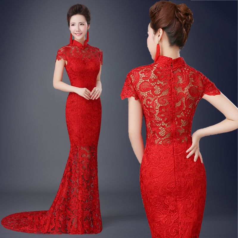 Red lace cheongsam wedding dress