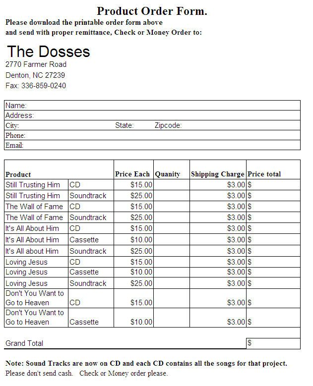Welcome to The Dosses Ministry Website - Order Form Order form - remittance template