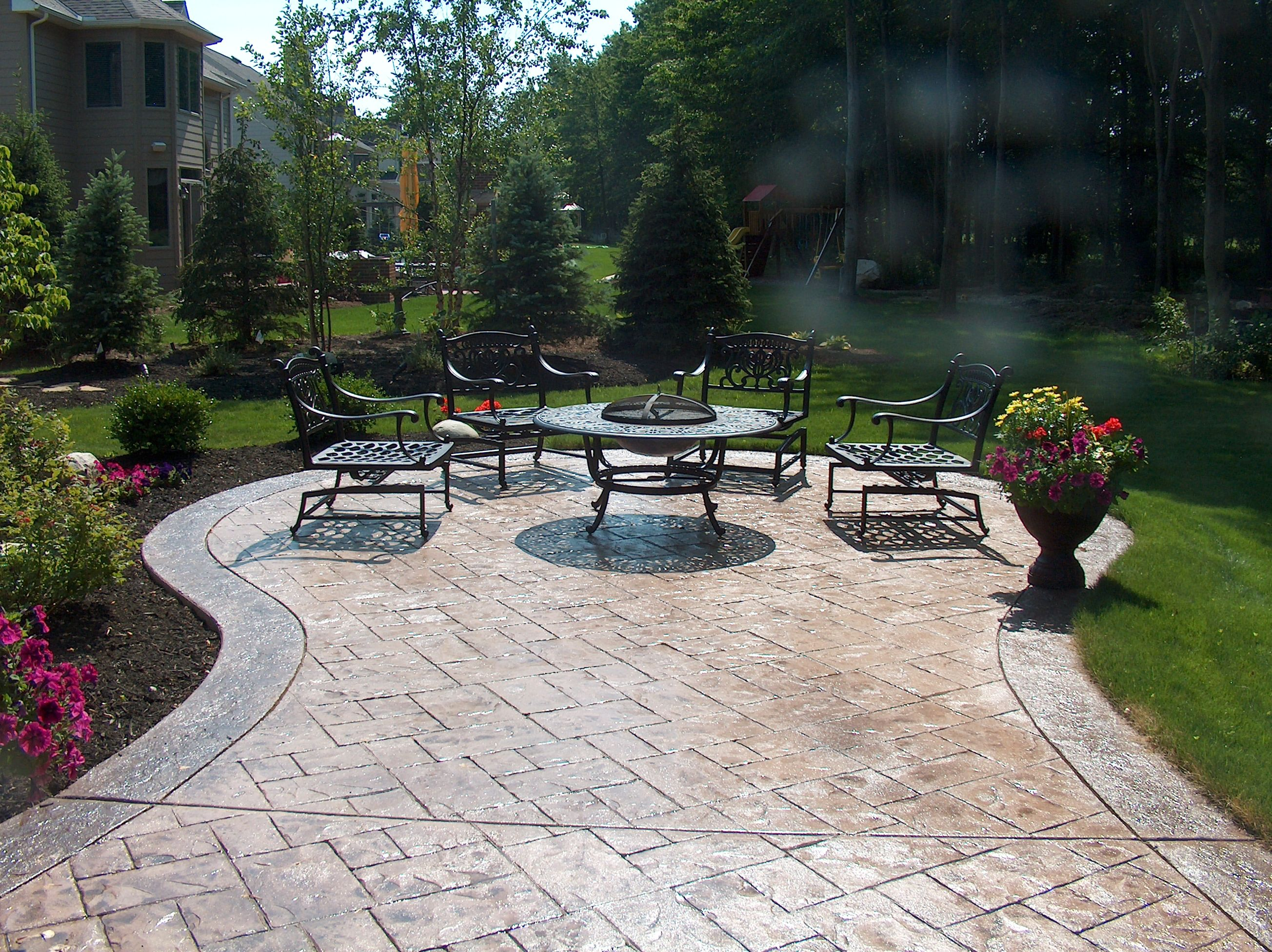 Ashler Slate Stamped Concrete Patio With Stone Texture