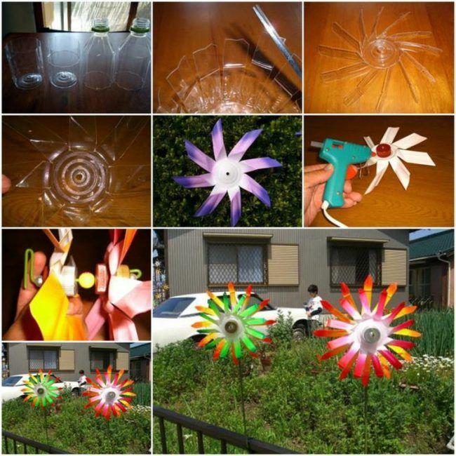 windrad-basteln-ideen-plastik-pet-flaschen-DIY-balkon-garten-deko - deko garten basteln