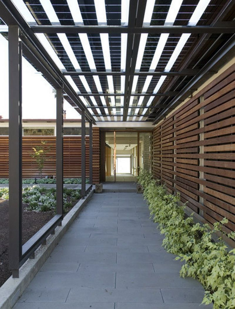 Architecture Interesting Exterior Home Design With: Modern Outdoor Patio Corridor With Covered Ideas