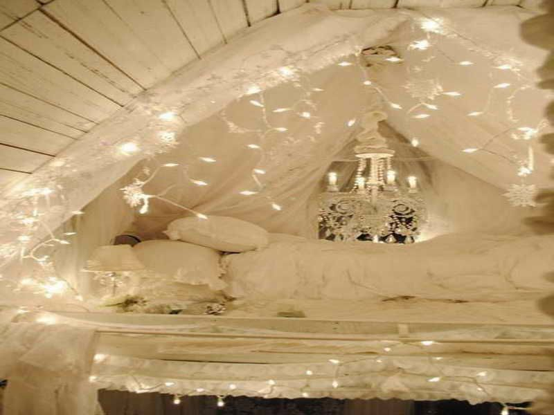 fairy led lights curtain bed | Design Styles - Bohemian | Pinterest