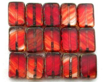 Red clear transparent w/ picasso 12 x 8mm rectangle. Set of 15.