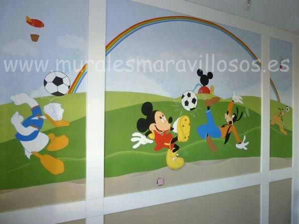 Murales infantiles con personajes disney pintados en la for Dibujos infantiles pintados