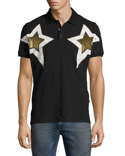 4028eb5bb JUST CAVALLI Metallic Star-Print Polo Shirt, Black. #justcavalli #cloth #