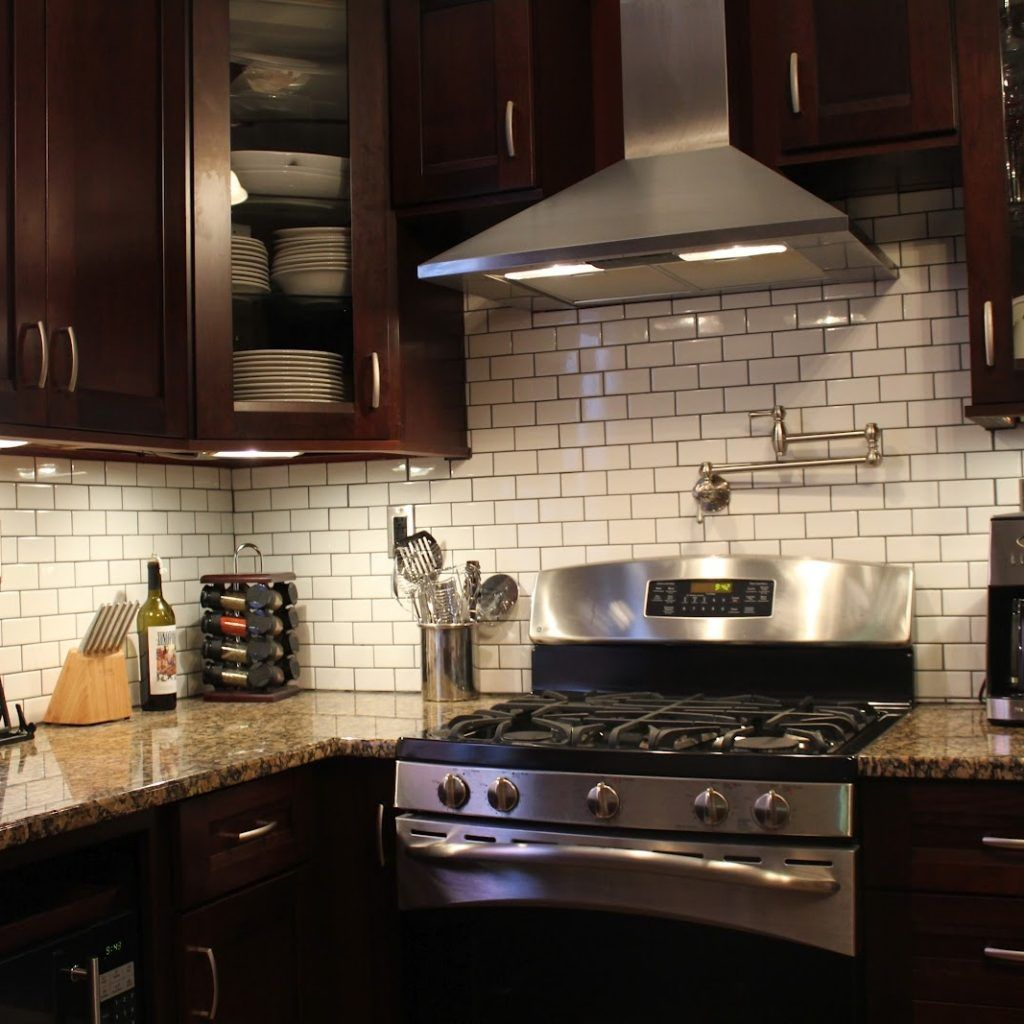 Subway Tile Backsplash Kitchen Dark Cabinets | House | Pinterest ...