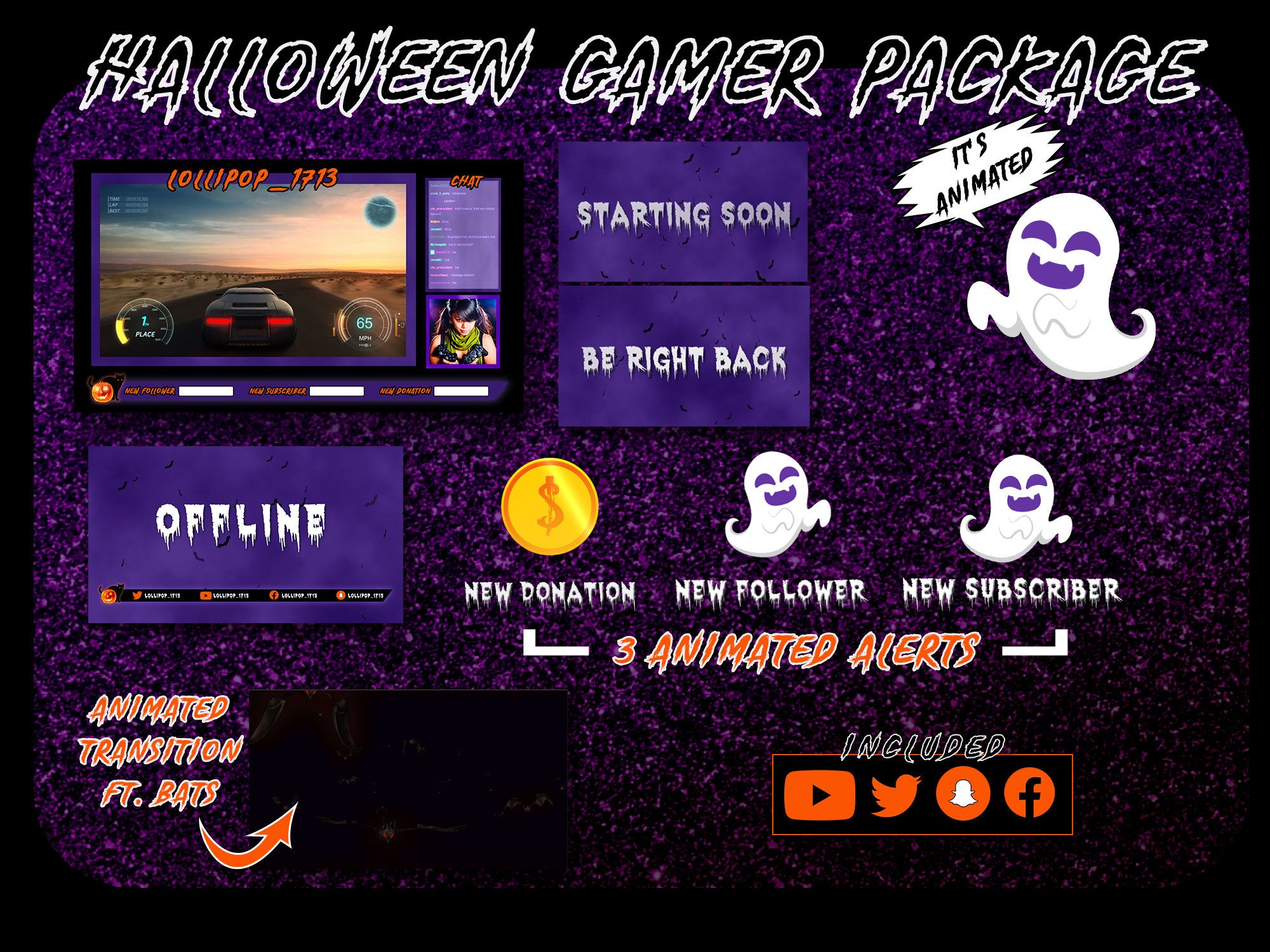 Streaming Halloween 2020 Animated Halloween Theme Gamer Stream Overlay Package | Etsy in