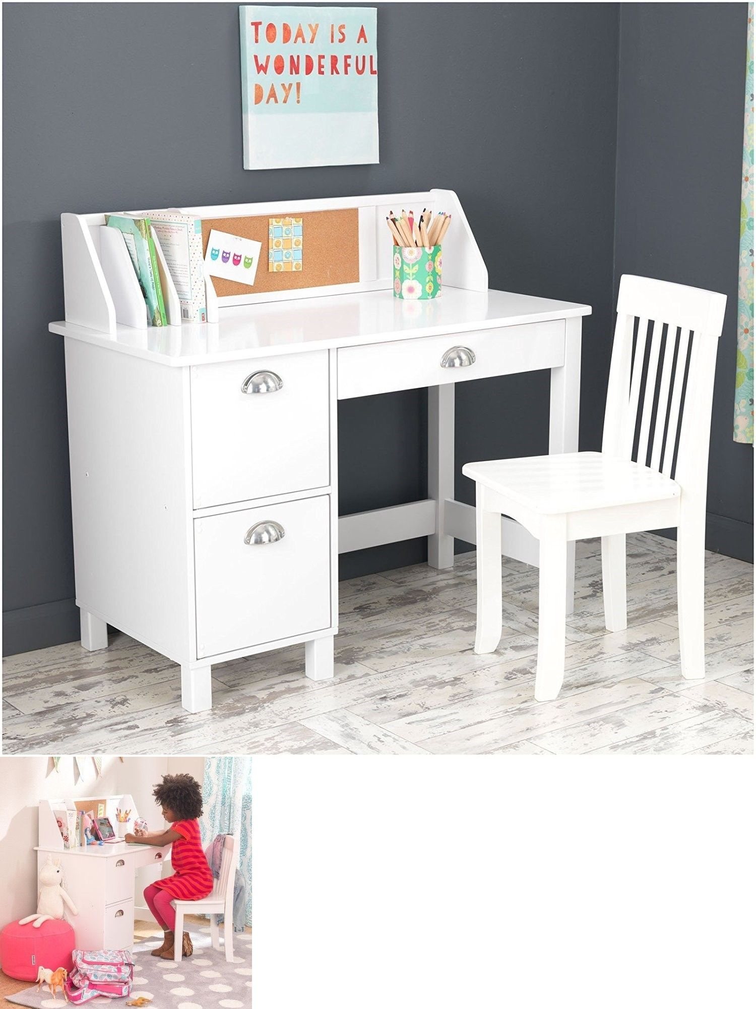 White Wooden Chair For Desk Karlstad Ikea Desks 115750 Kidkraft 26704 Kids Children S Wood Study And W Side Drawers New Buy It Now Only 173 95 On Ebay