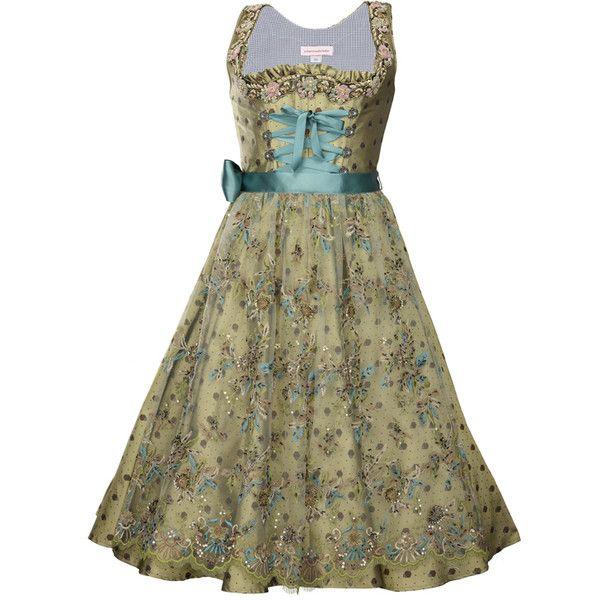 Dirndlmode mit transparenter Glitzerschürze beim Trachten-Couture... ❤ liked on Polyvore featuring dresses and dirndl