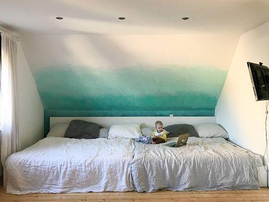 280 breites Familienbett im eleganten Weiß Das gestell ist aus