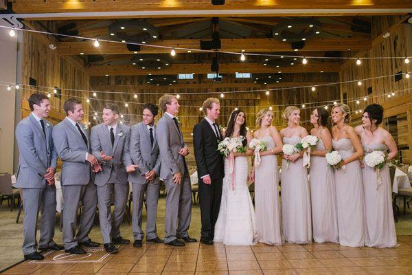 Champagne bridesmaid dresses with groomsmen wedding