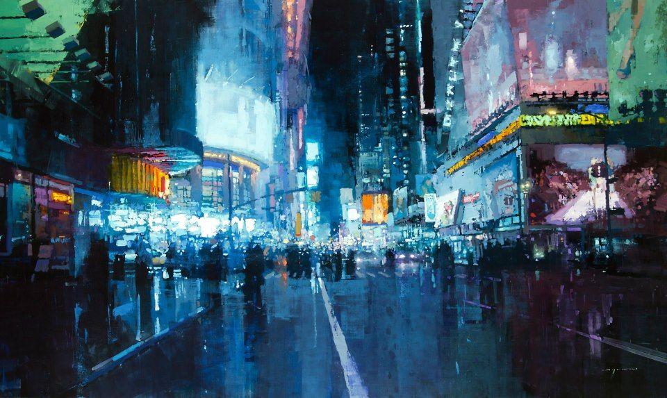 Jeremy Mann Times Square Lights L'impressione ai giorni nostri... colori e suoni retsano prigionieri della tela, si blocca un attimo della vita frenetica dell'uomo moderno perso tra la folla e tra le luci della città.