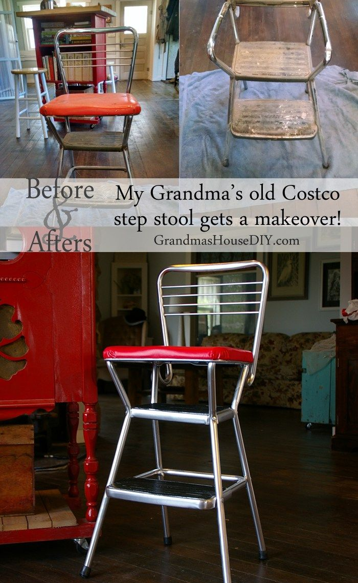 My Grandma S Old Cosco Step Stool Stool Makeover Step Stool