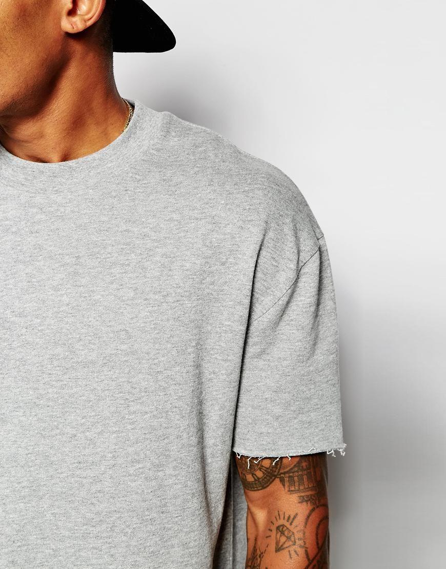 Image 3 of ASOS Oversized Short Sleeve Sweatshirt With Raw Edge ...