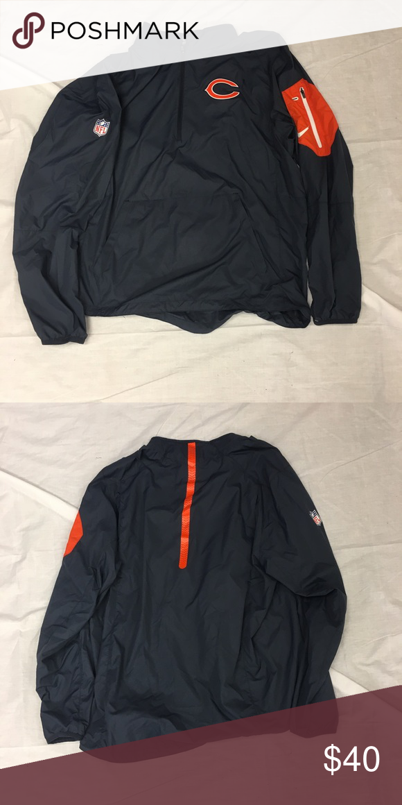 huge selection of 8cf98 d726e Chicago Bears Nike 1/2 Zip Navy Lockdown Jacket New Without ...