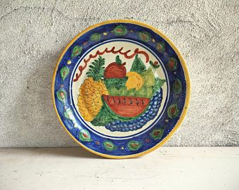 Vintage Mexican pottery plate wall hanging Southwestern decor Talavera pottery rustic decor ceramic & Vintage Mexican pottery plate wall hanging Southwestern decor ...