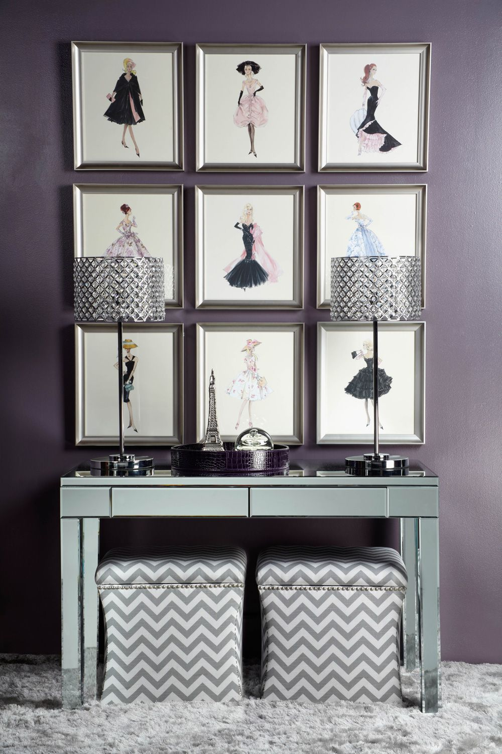 Fashion Walls With Barbie Sketches And Mirrored