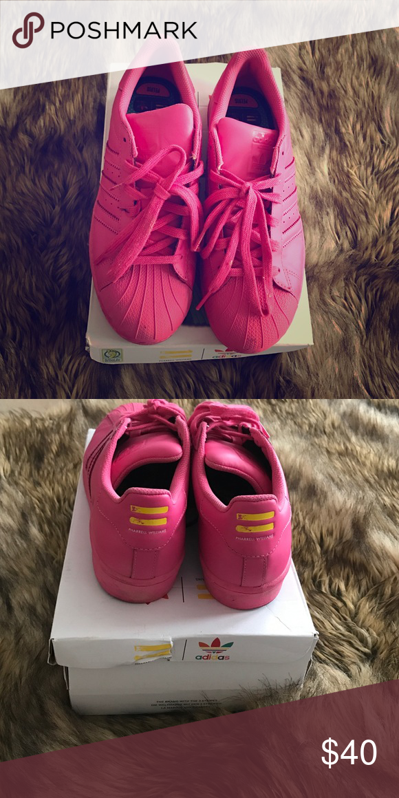 reputable site 71e12 e99dc Pharrell Williams Super Color SuperStar Pink Limited Edition Adi Color All  Pink Pharrell Williams Design SuperStar Adidas Adidas Shoes Sneakers