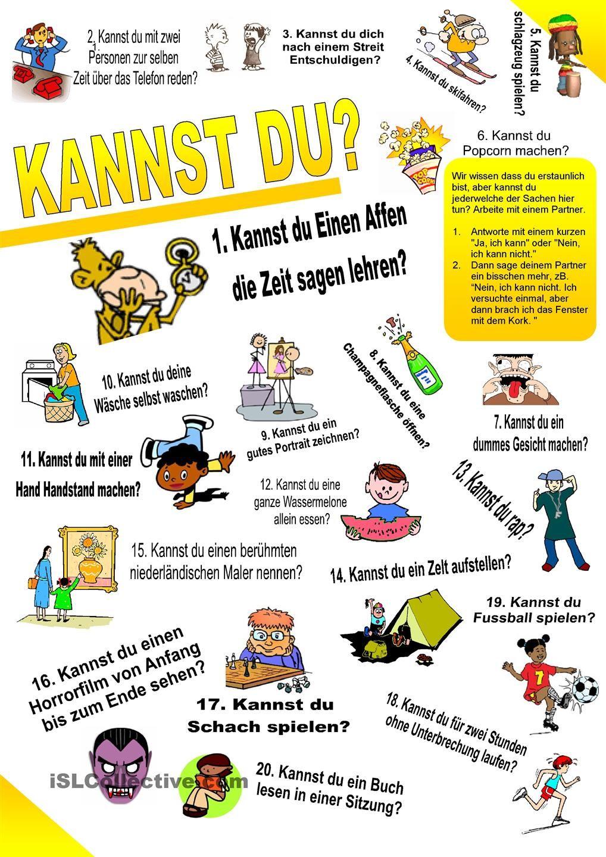 Kannst du 1. (Fähigkeit - Fragen und Antworten) | GERMAN | Pinterest ...