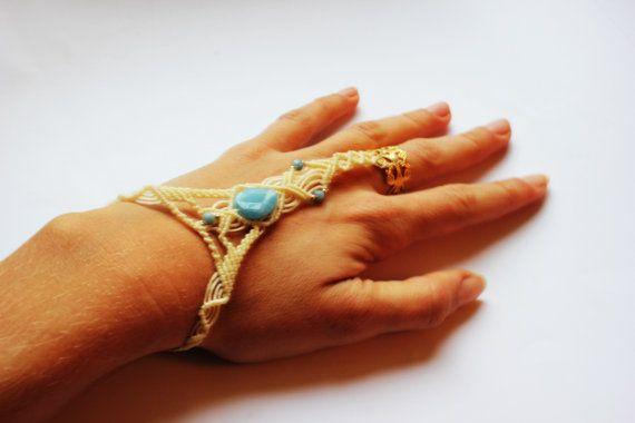 wedding cream bracelet for bride Cleopatra by MacrameLoveJewelry