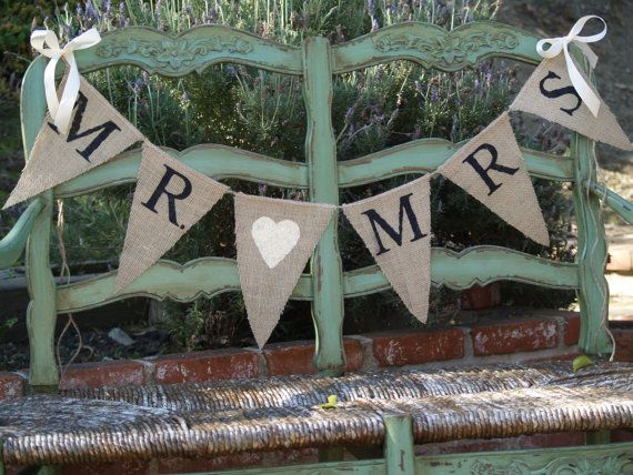 Mr Mrs Burlap Banner Wedding Photography Prop