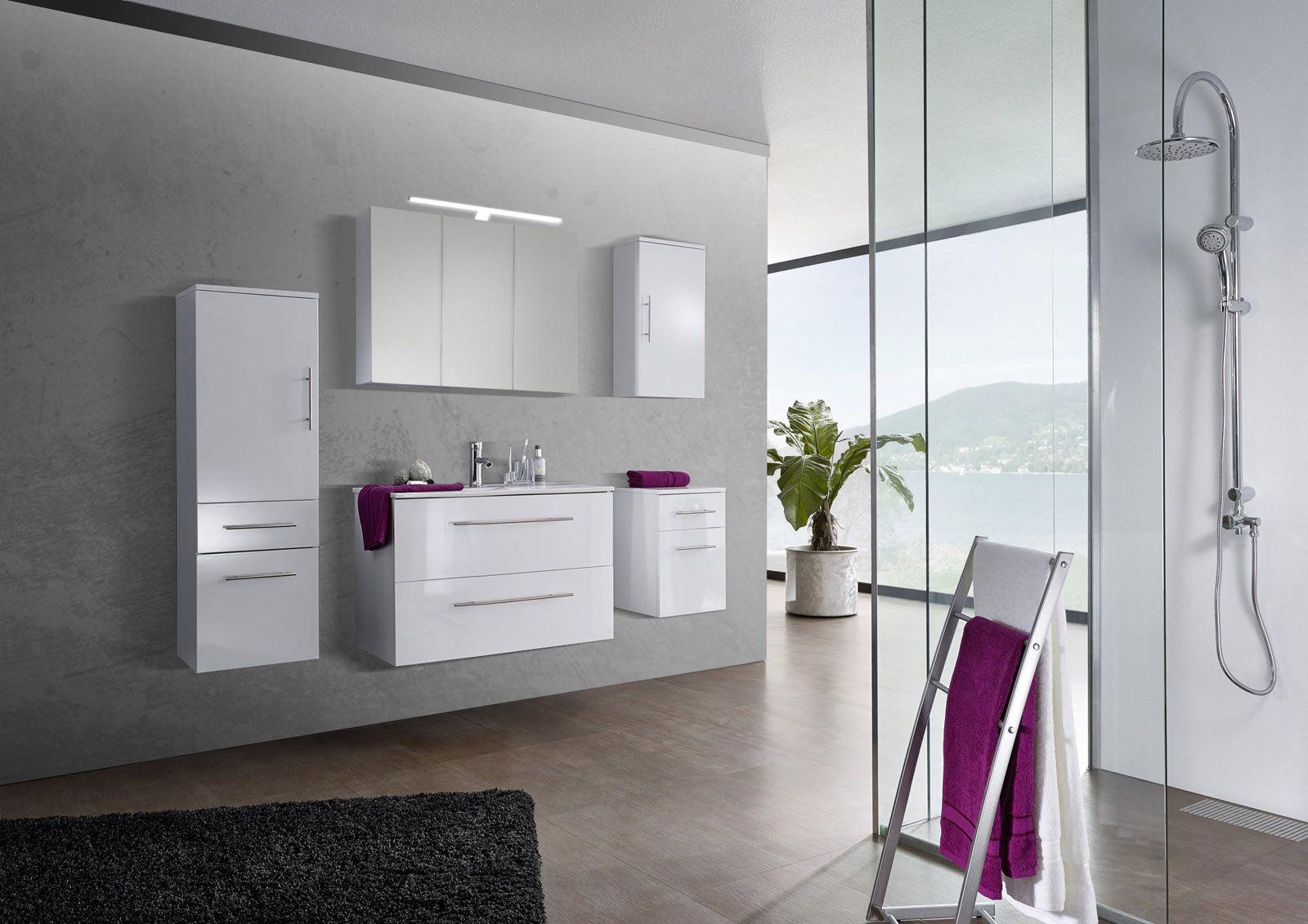 SAM® 5tlg. Badezimmer Set Spiegelschrank weiß 90 cm Verena