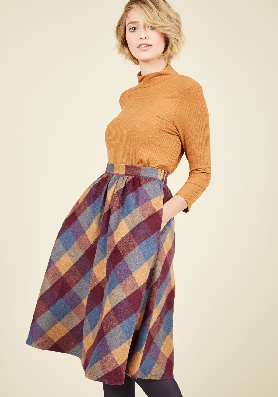9a55c92688 Sunday Sojourn Skirt in Warm Plaid, #ModCloth | Window shopping ...