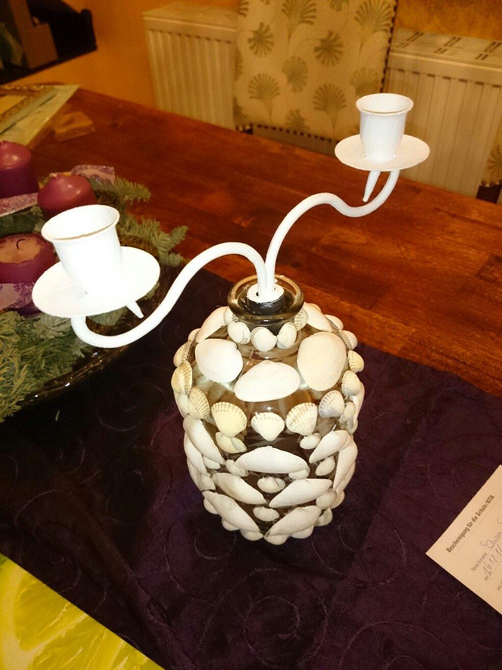 Candleholder on Glass w/ Seashells