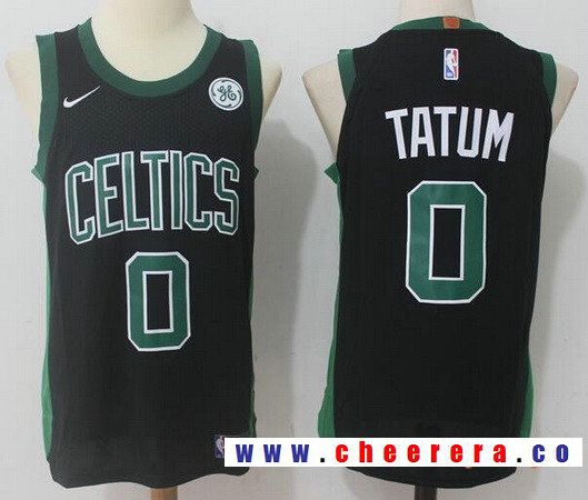 da06efcb5e1 Men s Boston Celtics  0 Jayson Tatum Black 2017-2018 Nike Swingman General  Electric Stitched
