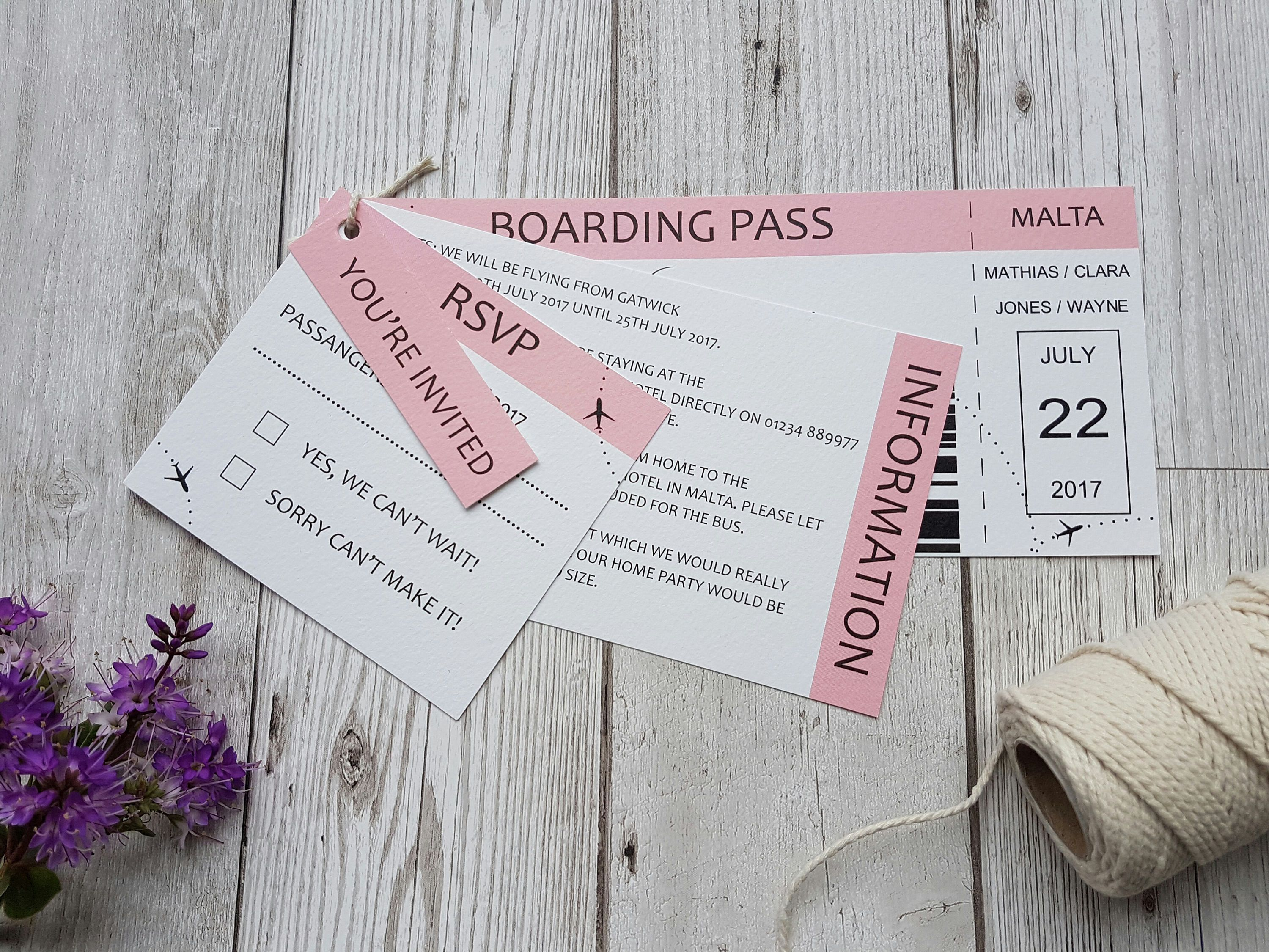 Boarding Pass Ticket Style Wedding Invitation SAMPLE set Destination ...