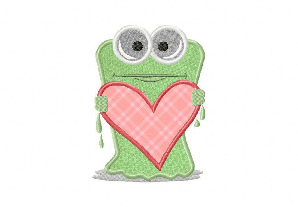 Heart Hug Monster Includes Both Applique and Stitched | machine ...
